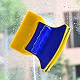 ShopTimes Magnetic Window Cleaner Double-Side Glazed Two Sided Glass Cleaner Wiper with 2 Extra Cleaning Cotton Cleaner Squeegee Washing Equipment Household Cleaner