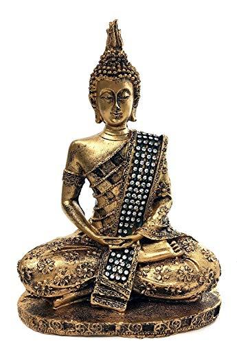 Bellaa 28526-28533 Thai Buddha Statue Meditating Peace Harmony 8 inch