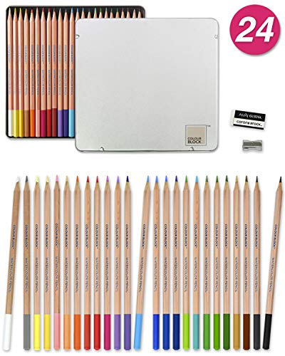 COLOUR BLOCK 24pc Watercolor Pencil Set with Premium Cedar Handle. Ideal for Drawing, Sketching, Coloring and Painting. Great pencil kit for Kids, Teens, Adults and Beginner to Professional Artists