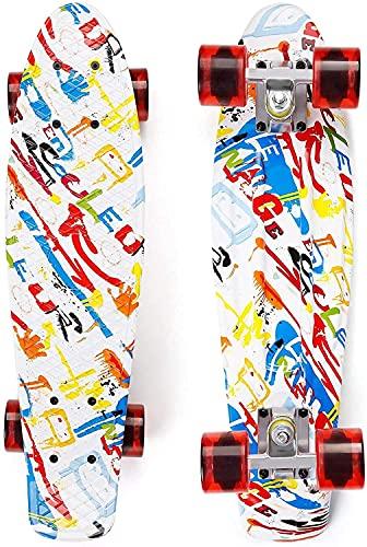 Skateboard Kinder 22\'\' Penny Board 55 cm Mini-Cruiser Retro-Skateboard für Kinder Jungen Mädchen Jugendliche Erwachsene Anfänger, 55 x 15 cm Komplettboard mit ABEC-7 Kugellager, Bis 100 kg Belastbar