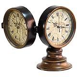 Faus Koco Mantel Reloj Vintage Metal Doble Cara Doble Mesa de Escritorio Reloj Reloj Clásico Desktop Reloj para Oficina de Oficina, Escritorio, Estante y hogar, 6 Pulgadas