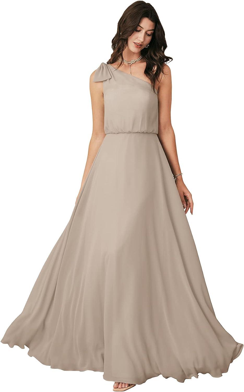 待望 ALICEPUB One セール Shoulder Long Bridesmaid Women Dresses Bow for Chif