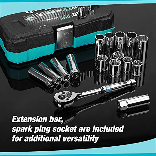 DURATECH 40-Piece 3/8- Inch Drive Socket Set, Reversible Ratchet Handle, Standard (SAE) and Metric Mechanic's Tool Set with Hard Case