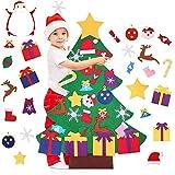 BESTZY Feltro Albero Natale, Feltro Albero di Natale con 26 Staccabili Ornamenti, DIY Regali di Natale di Nuovo Anno per la Decorazione della Parete del Portello dei Bambini