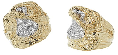 Solid Heavy 9 Carat Yellow Gold Men's Cubic Zirconia Saddle Ring - British Made - Hallmarked (T)