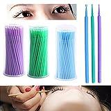 NESA 100Pcs/Pack Hot Lint Disposable Makeup Brushes Individual Lash Removing Tools Swab Micro brushes Eyelash Extension Tools (Fine)