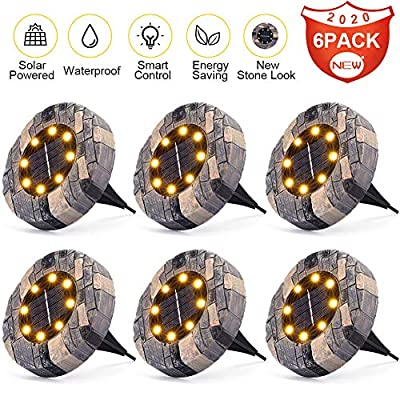 [Newest] Litake Solar Ground Lights Outdoor LED Slate-look Disk Solar Lights Warm White- 6 PACK, Waterproof Bright In-Ground Lights for Pathway Landscape Walkway Deck Patio Garden Lawn Yard Driveway