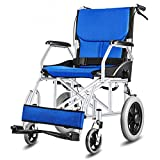 AOLI Light-Duty Viajes sillas de ruedas pequeñas, mayores Personas con Discapacidad empuje el scooter, ancianos sillas de ruedas plegables, adaptada para minusválidos y personas mayores, Rojo,Azul