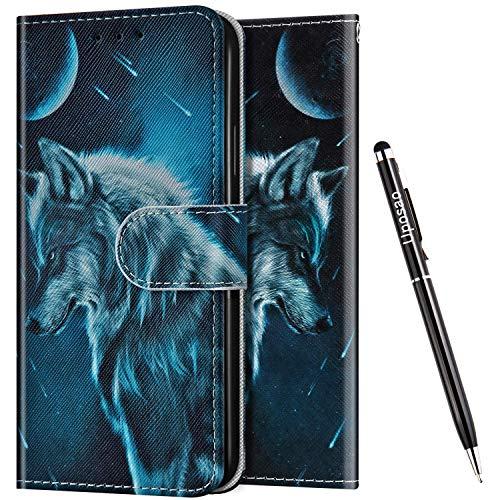 Uposao Kompatibel mit Samsung Galaxy J4 Core Hülle Leder Handyhülle Schutzhülle Bunt Cartoon Muster Flip Wallet Bookstyle Hülle Tasche Lederhülle Klapphülle Magnet Kartenfächer,Wolf Mond