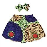 Jurebecia Toddler Baby Girls African Attire Ethnic Dashiki Print Tutu African Skirt with Headband Blue