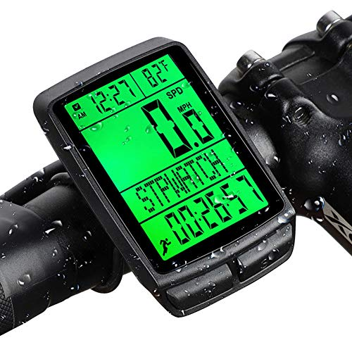 ZJJ Bike Computer Wireless Bicycle Boutometer con retroilluminazione Display Impermeabile Cycling Speedometer per Il monitoraggio Distanza di velocità del Tempo