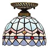 DALUXE Tiffany Techo Lámpara de Techo Multicolor Estilo de cúpula de Vidrio Barroco Tiendas mediterráneas Balcón Cocina Entrada de Dormitorio E27 Ø20 * H20CM 8InCH