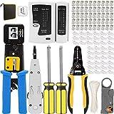 Mayline - Crimpadora rj45, herramientas kit de red profesionales, mantenimiento del ordenador, kit LAN, conectores RJ11/RJ12 regulares y trabillas (azul)