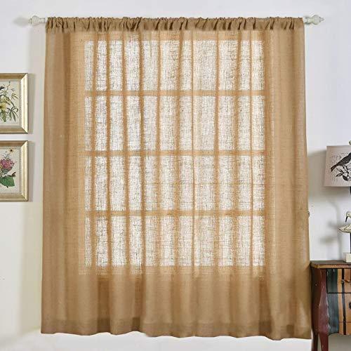 "BalsaCircle 52"" x 84-Inch Natural Burlap Window Drapes Curtains 2 Panels - Home Decor Party Decorations"