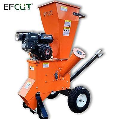 EFCUT A30 Wood Chipper Shredder Mulcher 6.5HP 196cc Heavy Duty LONCIN Gas Powered Engine 3 inch max Wood Diameter Capacity Reduction Rate15:1 3-Year Warranty, CARB/EPA Certified.