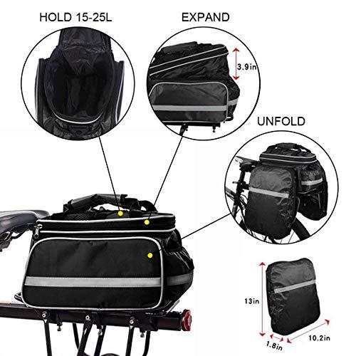 Fozela Fahrradtasche, Fahrrad Satteltasche Gepäcktasche Gepäckträger Tasche Rucksack Seitentasche mit wasserfester, reflektierender und Regenschutzdeckel - 3