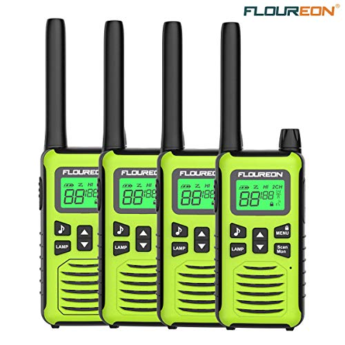 Kids Walkie Talkies Two Way Radios Long Range FLOUREON Walky Talky 4 Pack for Indoor/Outdoor/Crusie Ship 3000M (MAX 5000M) USB Cable Rechargable(Battery Not Included)
