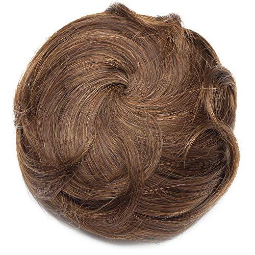 Chignon Capelli Veri Ricci Clip Extension Effetto Naturale Voluminoso Elastico con 2 Clips Magic Hair Bun Coda Updo Crocchia 36g #4 Marrone Cioccolato