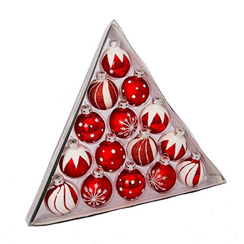 Kurt S. Adler C1852 Kurt Adler 1.57-Inch Red/White Decorated Glass Ball Ornament Set of 15