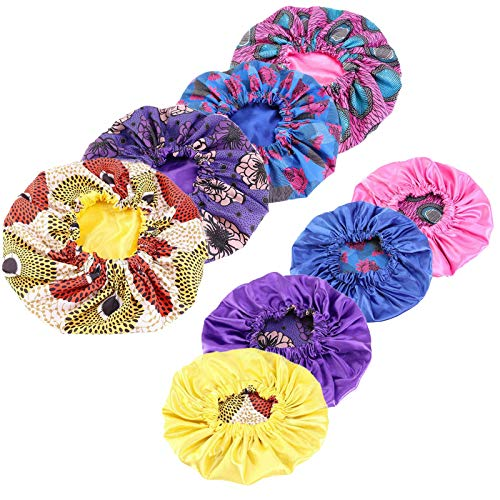 Qianmome Women Double-Layer Extra Large Print Satin Bonnet Sleep Cap African Pattern Fabric Ankara Bonnets