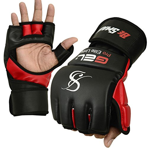 Echt.Rex Leder-MMA-Handschuhe für Damen, UFC-Gel-Tech, Boxsack-Training, Muay Thai, damen Herren Kinder, schwarz / rot, Large