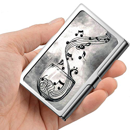 Design Sliver Business Card Holder Metal Stainless Steel Name Wallet Credit Case for Men Women-Wolf Wine and Music