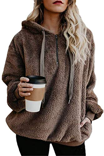 Yanekop Womens Sherpa Pullover Fuzzy Fleece Sweatshirt Oversized Hoodie With Pockets(Brown,2XL)