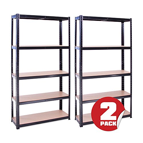 G-Rack Lagerregal für Garage, Werkstatt, Speisekammer - 180 x 90 x 30cm, 5-stufig (175KG pro Regal) – 875KG Kapazität, Schwarz