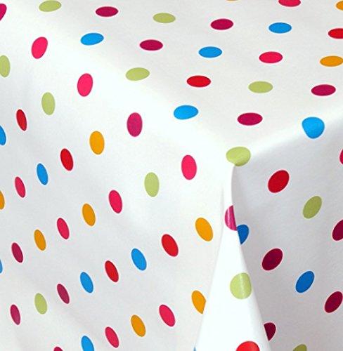 Wachstuch Dottie Bunt Kleine Punkte Eckig 75x60 cm · Länge & Breite wählbar· abwaschbare Tischdecke