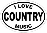 WickedGoodz Oval I Love Country Music Vinyl Decal - Music Bumper Sticker - Perfect Honkytonk Gift