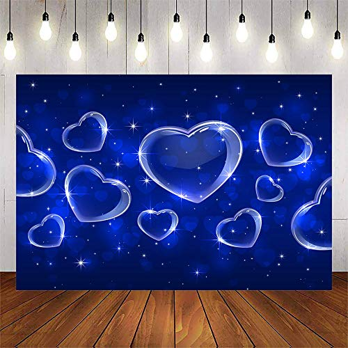 Avezano Blue Heart Backdrop Early 2000s Photography Backdrop Birthday Party Photo Backdrop Newborn Kids Portrait Photo Booth Background Props (8x6ft)