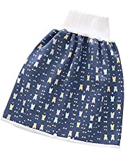 Cartoon Luierrok broek voor babymeisjes jongens, 2-in-1 waterdichte lekvrije hoge taille buikbescherming, ademende wasbare luier korte rok voor kinderen peuter