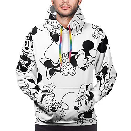 Minnie Cartoon Mouse Sudadera con capucha para hombre, manga larga, estilo casual, color negro, talla 3XL