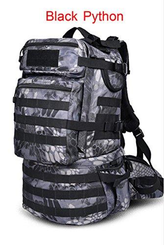 Greenpromise Outdoor Militär Armee 50L Taktischer Rucksack Camping Trekking Tasche große Kapazität Wandern Rucksack Reiserucksack Herren Tasche, Schwarze Python