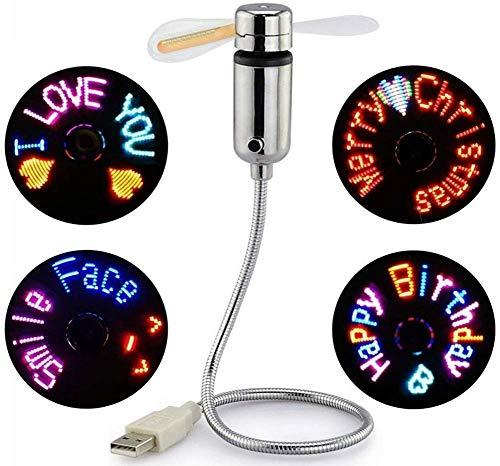 Justup Ventilador USB, LED RGB, programable, con cuello de cisne flexible, pantalla LED, función de memoria para PC, portátil, ordenador de sobremesa (LED RGB)