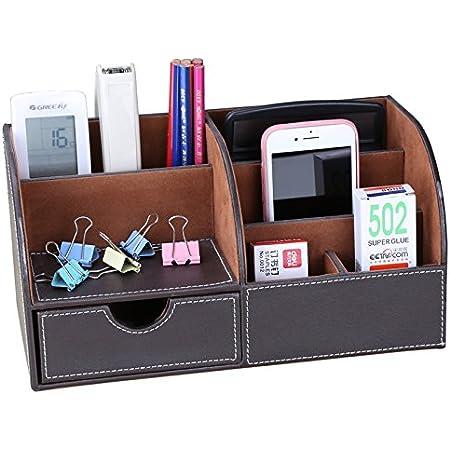 Tisch Organizer Stiftek/öcher Stiftehalter Schreibtisch Platzsparend 360/° Drehung und 3 F/ächer Aufbewahrungsbox B/üro und Schule usw f/ür Zuhause Grau