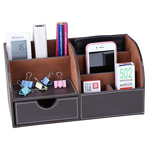 WINSHEA 7 Compartimentos Multiuso Oficina Organizador Sistema de Escritorio de Cuero Sintético Accesorios para Escritorio Organizador de Oficina(Marrón)
