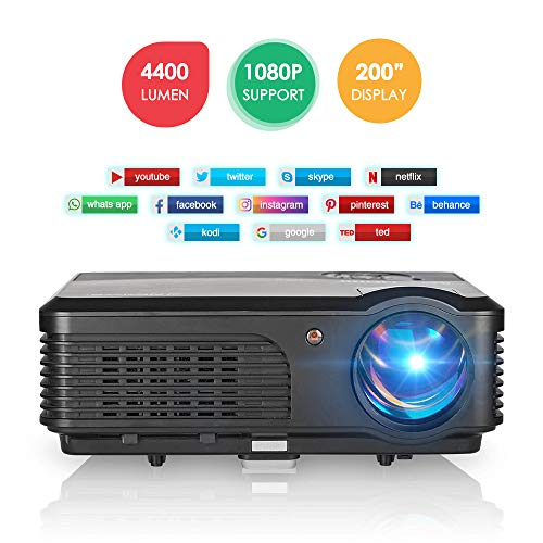 Wireless Bluetooth WiFi Projector 4400 Lumen, Airplay Full HD Supported Home Theater Projector Build in Speaker, Compatible with Computer Smart Phone Laptop Roku Wii Xbox, HDMI VGA AV Cable Included