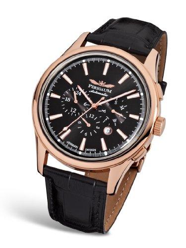 Perigaum P-1202-RS Herren Armbanduhr Lederband Schwarz