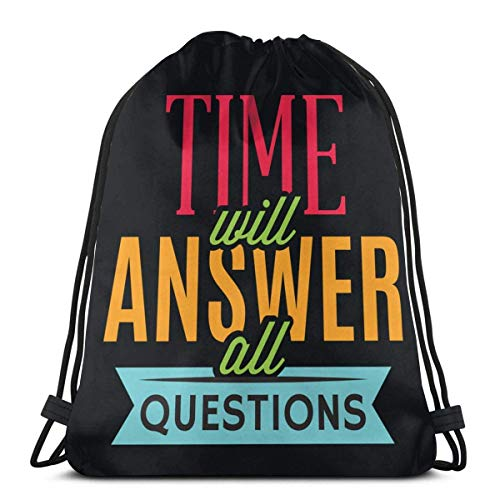 Emonye Time Will Answer All Questions Drawstring Backpack Rucksack Shoulder Bags Gym Bag