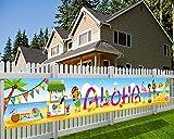 HOWAF Aloha Pancarta para Hawaiana Decoración, Larga Tela Pancarta para Tropical Verano Fiesta Jardín Pared Exterior Decoración, Playa Piscina Tiki Luau Fiesta Decoración de Fondo, 270 * 35 cm