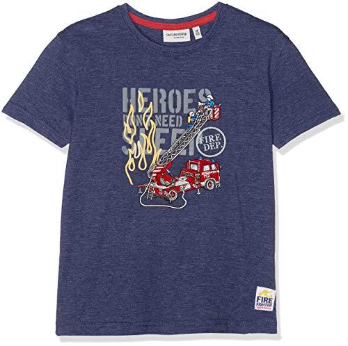 Salt & Pepper Jungen Fire Uni Stick T-Shirt, Blau (Dark Blue Melange 492), 92 (Herstellergröße: 92/98)