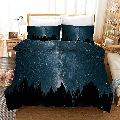 Duvet Cover Double Bed 200x200 cm Bedding set 3 Piece with 2 Pillowcases 50x75 cm Starry sky 3D Printing Design Soft Microfiber Quilt Cover Set with Zipper
