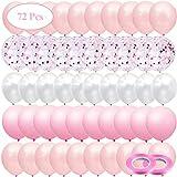 JUZNOY 72 Stück 12' Luftballons Rosa Weiß Ballons mit Rosa Konfetti für Babyparty Junge Kinder Geburtstag Party Deko, Rosa