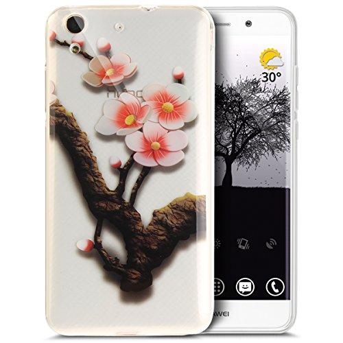 Coque Huawei Honor 5A,Etui Huawei Honor 5A,Coloré Art Peint Cristal Clair TPU Transparente Silicone Gel TPU Souple Housse Etui de Protection Case Coque pour Huawei Enjoy 5,Fleur à quatre prunes
