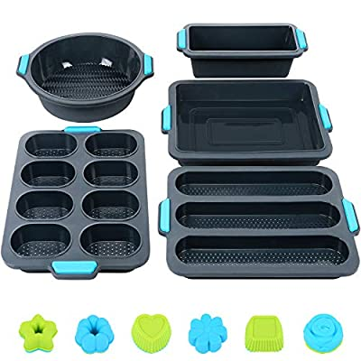 Duerer 40PCS Silicone Bakeware Set, Cake Molds for Baking, Nonstick Baking Pans Tray, Food Grade Donuts Toast Muffin Pizza Tiramisu Mold Best Gift for Party, BPA Free (Grey blue)
