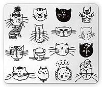 かわいいマウスパッド、猫の子猫の頭の似顔絵肖像画コレクション手描きのさまざまな美しい顔、標準サイズの長方形の滑り止めのゴム製マウスパッド、ブラックホワイト