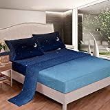 jejeloiu Galaxy Bed Sheet Set 3Pc Blue Twin Size Outer Space Bedding Sheet Set with 1 Flat Sheet & 1 Fitted Sheet with 1 Pillowcase (Twin,Blue)