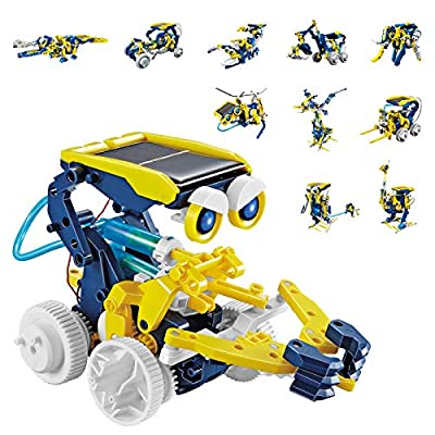 AOKESI Solar Robot Kit 11-in-1 Educational Solar Robot Toys, STEM Science Toy Robotics for Kids Aged 8 and Up - Build Your Own Robot!