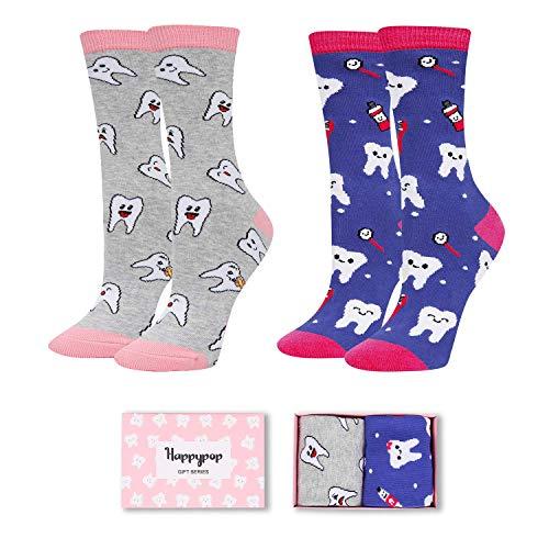 Frauensocken mit Zahnverzahnung, lustige Tierfutter-Socken, 2 Stück, Geschenk Gr. One size, Zähne dunkelblau grau 2er Pack